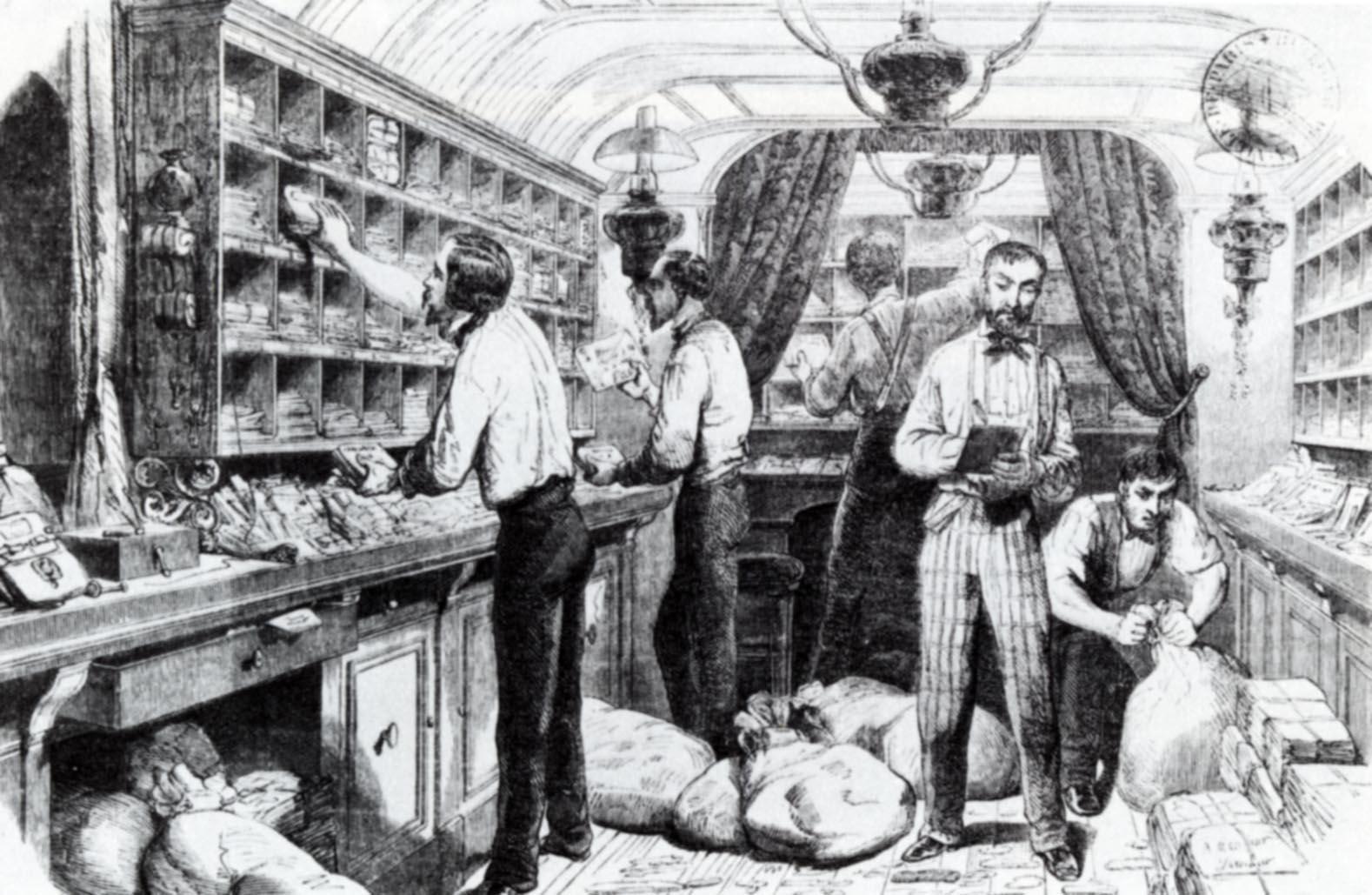 038 1870 int rieur d 39 un bureau de poste ambulant gravure des travaux de. Black Bedroom Furniture Sets. Home Design Ideas