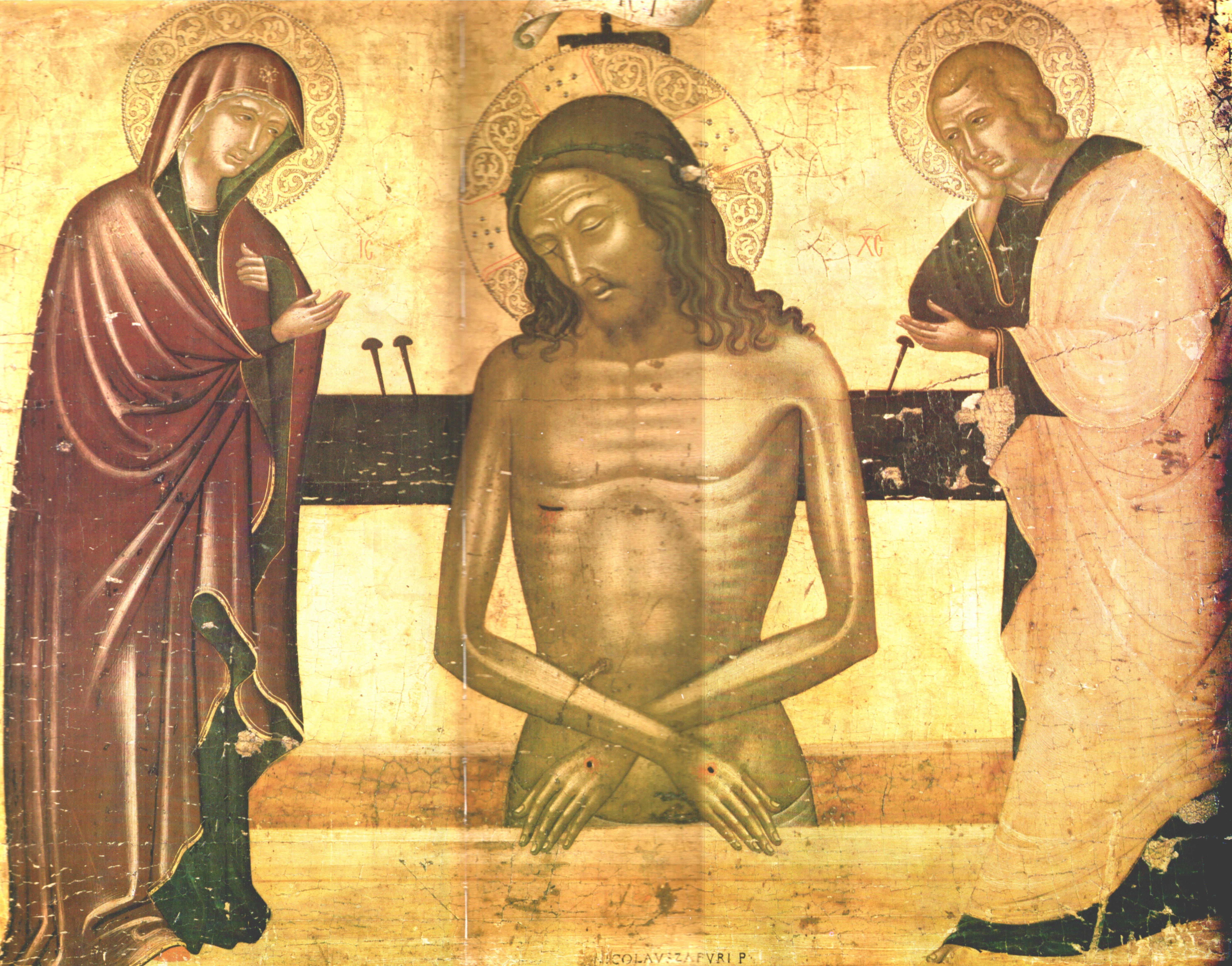 081 1500 le christ de la passion entre la vierge et saint jean d trempe. Black Bedroom Furniture Sets. Home Design Ideas